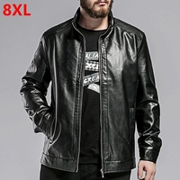 Plus size casual men's new plus fertilizer plus size men's PU jacket black leather jacket 8XL 7XL 6XL 5XL