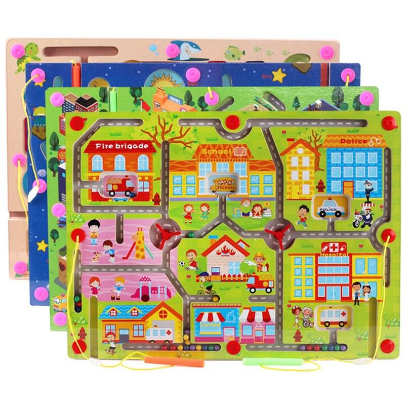 Большой Размеры Магнитная Игрушечные лошадки деревянные головоломки для детей раннего обучения образовательные игры деревянная игрушка И...