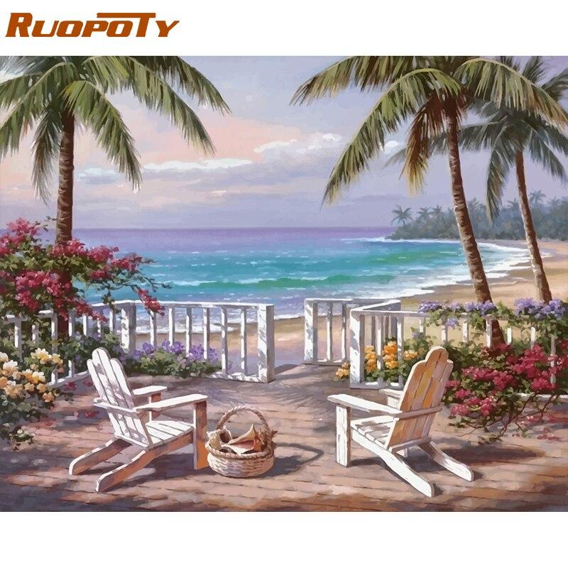 RUOPOTY Rahmen Meer Landschaft DIY Malerei Durch Zahlen Kits Acryl Farbe Durch Zahlen Moderne Wand Kunst Bild Für Home Dekore