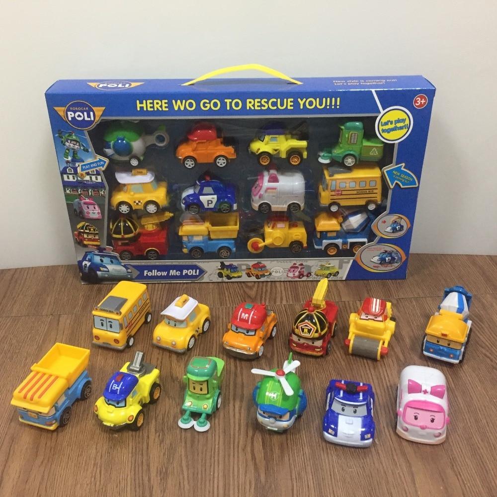 12pcs/Set Robocar Poli Korea Toys Robot Poli Amber Roy Pull Back Car Toys Anime Action Figure Toys Best Gifts For Children