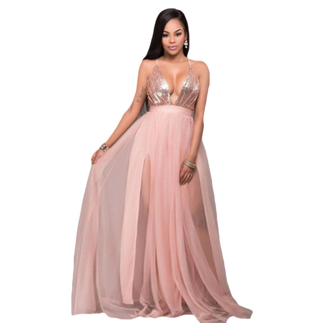 Blush Tulle Rose Gold Sequins Maxi Dress Sexy Spaghetti Strap Plunge V Neck  Cross Back Casual Party Dress Floor-length 94dbb0826