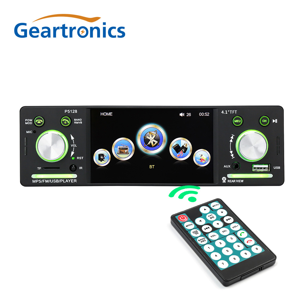 цена на 4.1 1 Din Car Radio Autoradio 12V Bluetooth Car Stereo FM Aux Input Receiver In-dash SD USB MP3 WMA APP Car Radio Player P5128