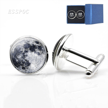 цена на 1 Pair Full Moon Galaxy Planet Cufflinks Suits Shirt Cuff Links Silver Plated Cufflinks for Men Wedding Cuff Accessories