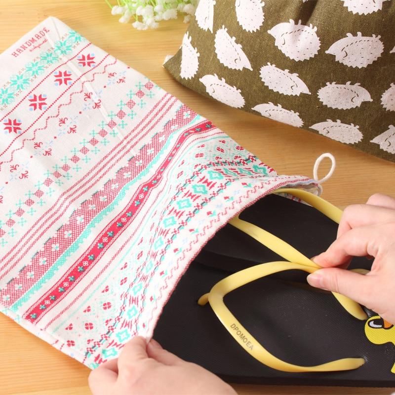High Quality Fashion Girls Shoes Bags Women Cotton Travel Pouch Storage Portable Drawstring Clothes handbag Makeup Pouch
