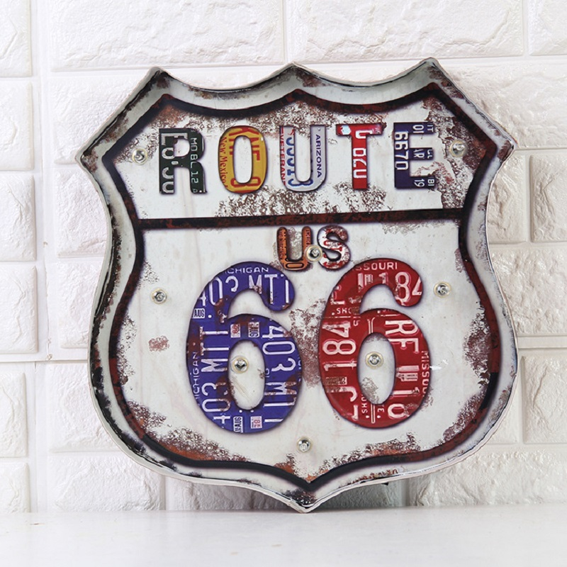 The new US Route 66 Cafe Restaurant Bar Iron Mural walls Hangings with LED vintage home decor manualidades craft iron crafts art