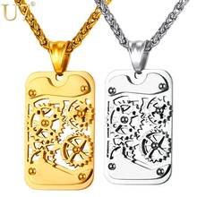 U7 Brand Steampunk Gear Rotatable Pendant & Necklace Statement Black Stainless Steel Gold Plated Chain For Men Kpop Jewelry P929