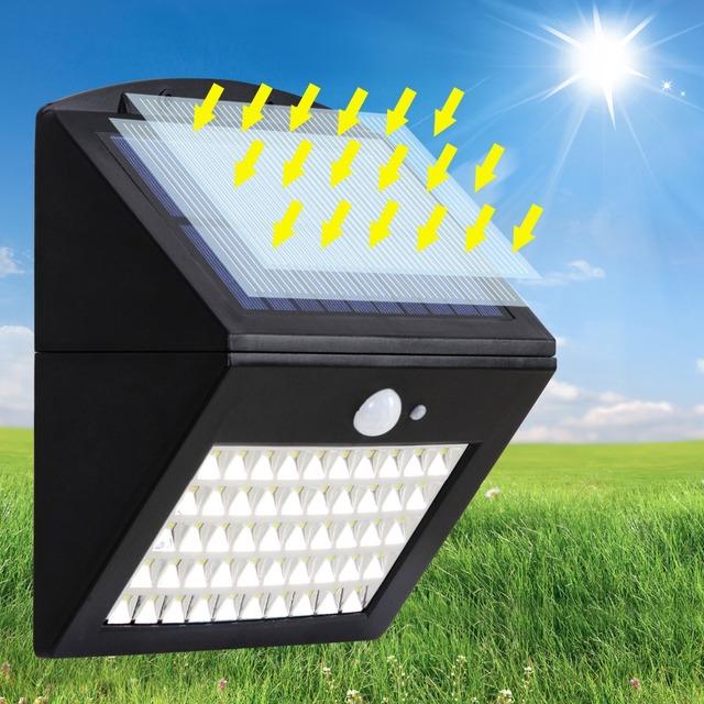 T-SUNRISE Solar Light 50 LEDs Motion Sensor Wall Light Separable Solar Panel In/Outdoor Solar Lamp IP65 Waterproof Street Lamp