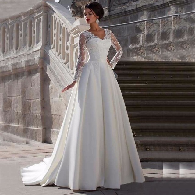 Long Sleeve Lace Wedding Dresses Satin A Line Country Western Wedding Gowns Weding Bridal Bride Dresses Weddingdress