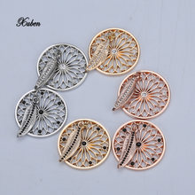 style Newest My Coin 33mm Mixed Coin Disc Pendant with Big Crystals for Coin Holder Necklace in Women Jewelry with Feather D(China)