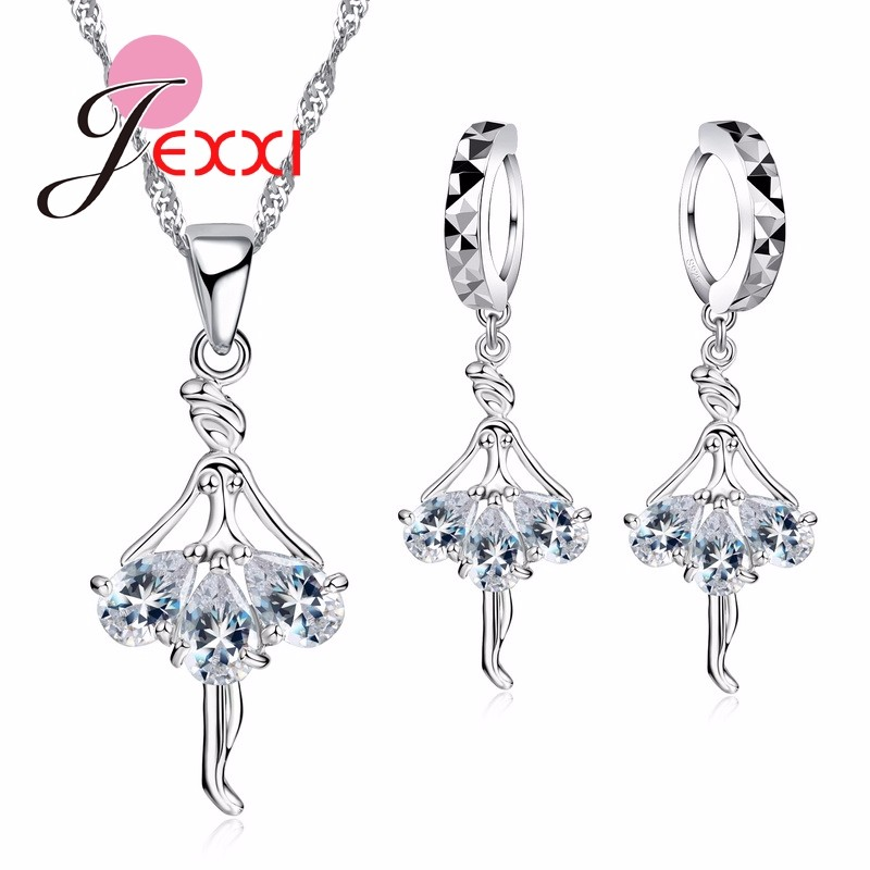 HTB1KJtdJFXXXXagXpXXq6xXFXXXZ - Elegant 925 Sterling Silver Ballerina Necklace Earrings Set With Shiny Crystal Women Girls Wedding Engagement Jewelry Set