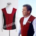 Star Trek Кирк Ребристые Рубашка и Красный Черный Жилет косплей Костюм