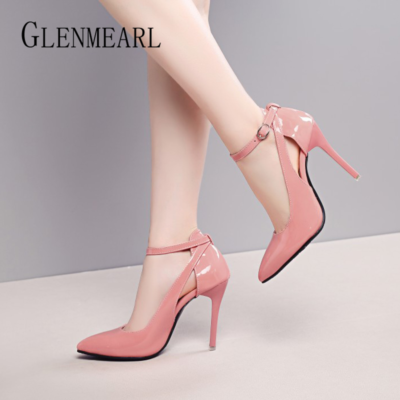 Women High Heel Pumps Summer Shoes Brand Female Heels Pink Buckle Strap Wedding Shoes Pointed Toe Casual Shoes Plus Size DE