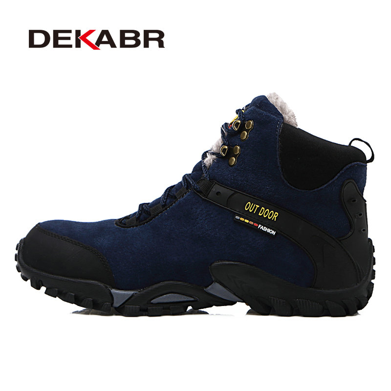 Dekabr new waterproof suede hiking boots shoe anti skid for Waterproof fishing boots