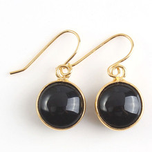 FYJS Unique Jewelry Light Yellow Gold Color Round Cabochon Black Agates Dangle Earrings
