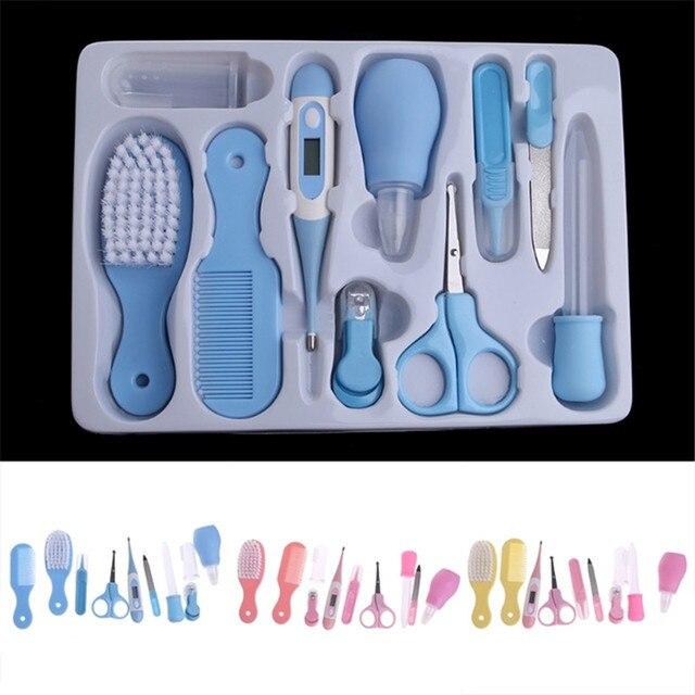 10 unids/set bebé niños uñas cuidado de la salud termómetro limpiador de nariz cepillo de dientes herramientas de seguridad para el cuidado del bebé