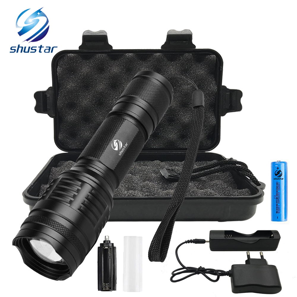 Ultra Bright LED Flashlight 8000 lumens CREE XML-T6/L2 torch Zoomable 5 modes flashlight + 18650 battery + charger+Gift box стоимость