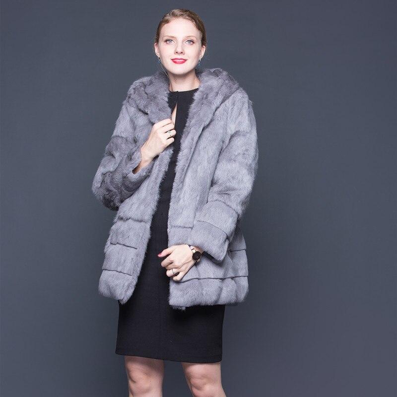 2018 De Avec Capuchon Nouveau champagne Manteau gris noir Lavande Quarts Neuf Femmes Véritable Manteaux Fourrure Lapin Manches qwnBw0XrTx