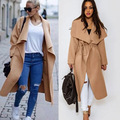 2017 Brand Fashion Long Maxi Coat Women Winter Woolen Irregular Collar Jacket Belt Loose Black Khaki Office Woolen Clothing Z10