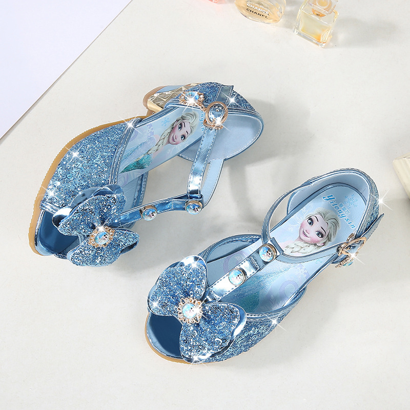 3-9 Years Old Children Girls Peep Toe Sandals Frozen Shoes For Girls Dancing And Party Rhinestone Bow Else Shoes 2#20/10D50