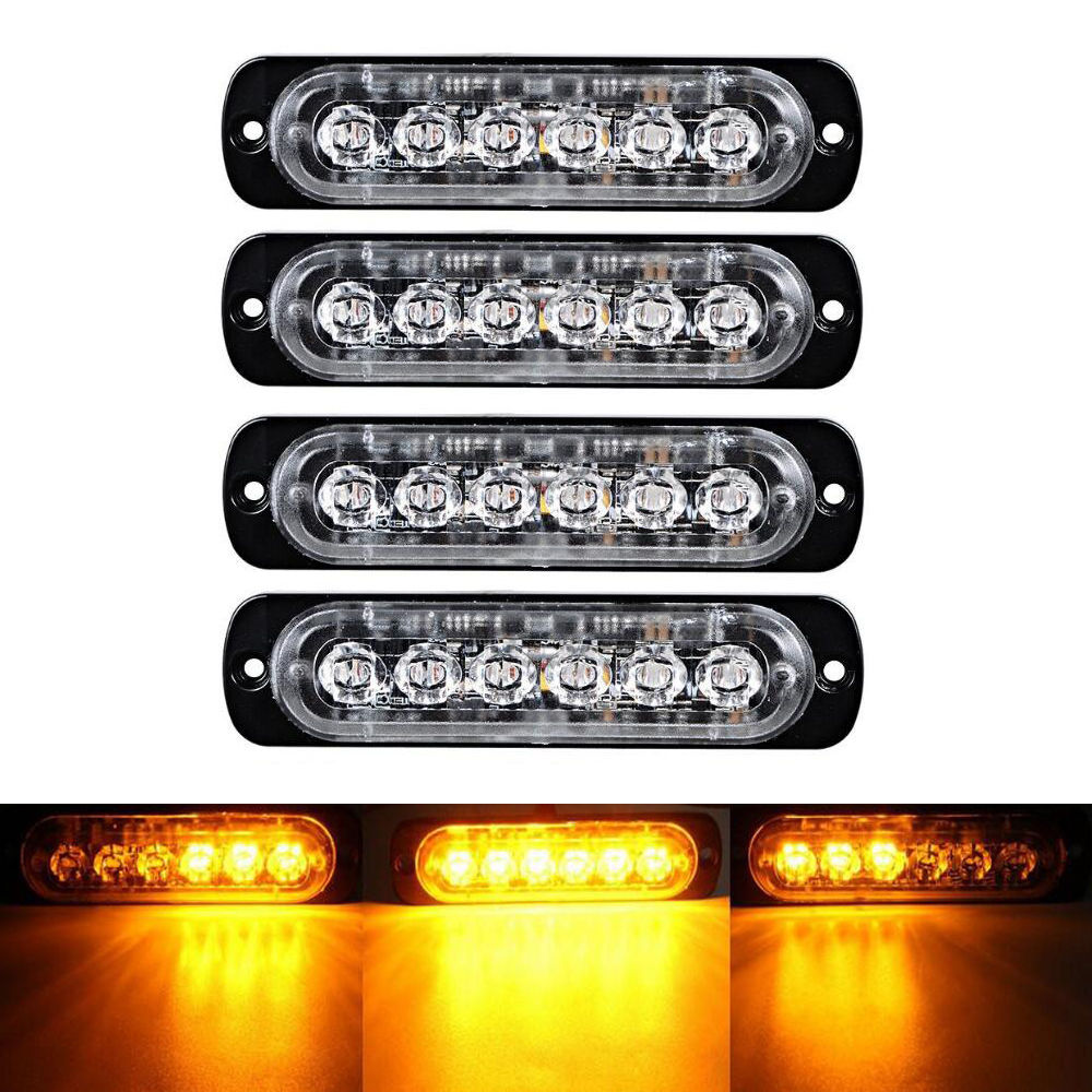 4X Car Truck 6 LED Strobe Light Flash Emergency Hazard Warning Amber white red blue Lamp 18W
