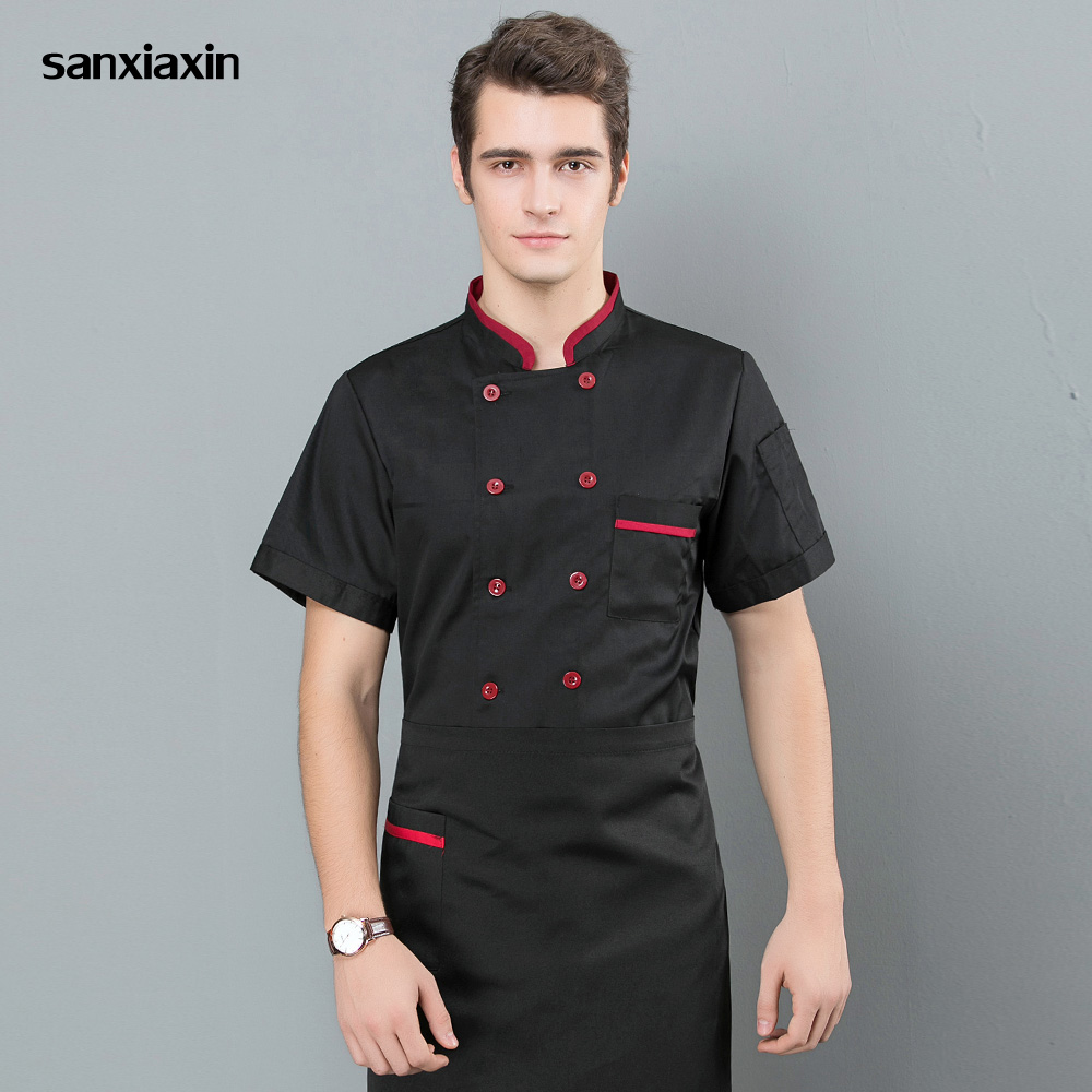 Men And Women Food Service Chef Uniforms Restaurant Hotel Double Breasted Catering Bakery Cotton Chef Jackets M-3XL Waiter Coat