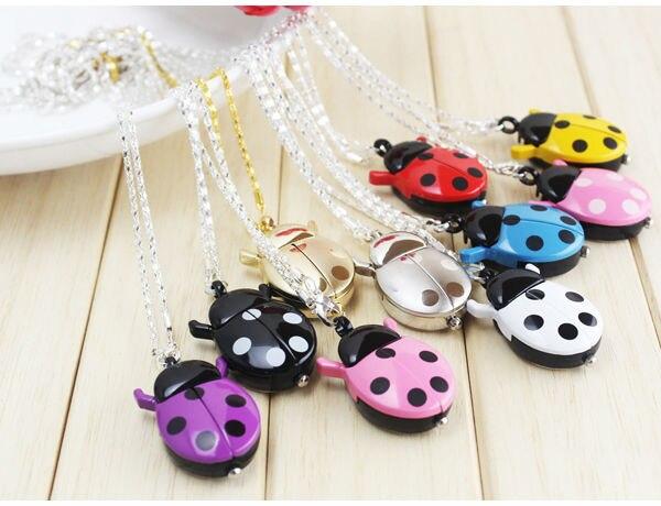 10pcs Brand Fashion Colorful Ladybug Necklace Pocket Pendant Dress Quartz Watch kids girls keychain Clock Reloj все цены