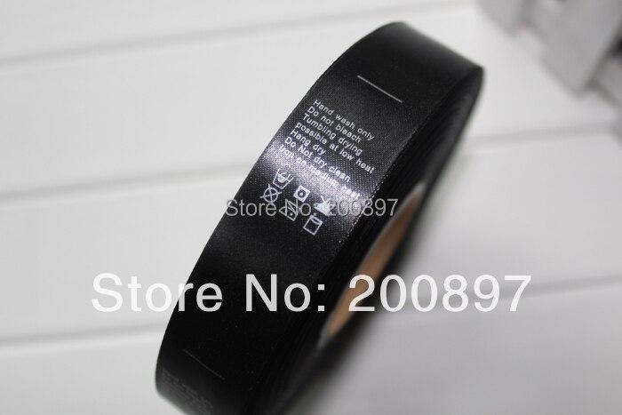 Czarny etykieta z srebrny napis drukowane tag w satin magazynie, lub dostosowane 1000 sztuk w rolce w Metki odzieżowe od Dom i ogród na AliExpress - 11.11_Double 11Singles' Day 1