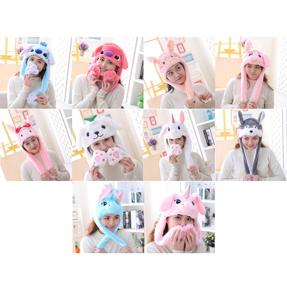 Plush Winter Animal Cap Hat For Girly Warm Plush Hats With Ears For Women Headdress Photo Props Pinching Ears Will Move