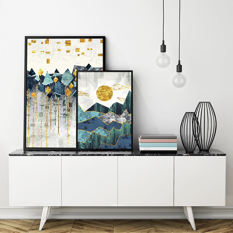 Nordic Abstract Geometric Mountain Landscape Wall Art Canvas Painting Golden Sun Art Poster Print Wall Picture for Living Room