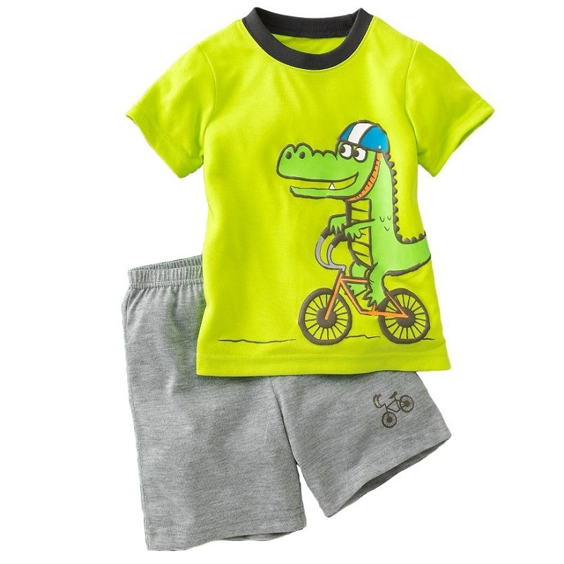 Green Crocodile Baby Boy Clothes Set Bike Children Tee Shirts Pants Suits Kids Outfit 100% Cotton Tops Panties 2 3 4 5 6 7 Years