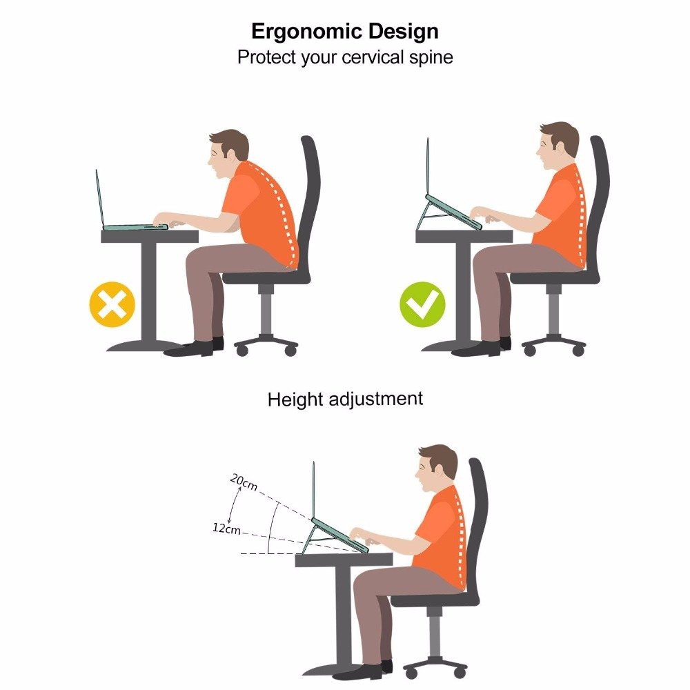 LariCare Aluminum Laptop Stands Megainvo Portable Laptop Stand Adjustable Eye-Level Ergonomic Height Foldable Compact (2)