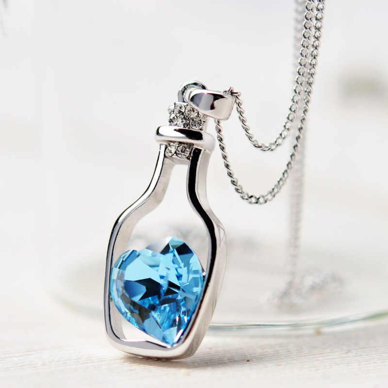 Кристалл сердце ожерелье женщины Любовь дрейф кулон в виде бутылки ожерелье s для женщин Девушка цепь колье ожерелье ювелирные изделия