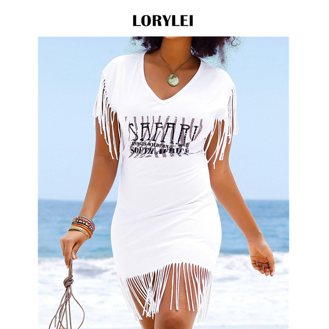 2d2414cfbbf Women Summer Fashion Beach Dress Swim Cover Up Sexy Printed Fringed Short  Sleeve Dress White Pool Party Dresses Vestidos N659