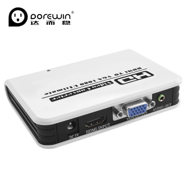 Dorewin HDMI to VGA Converter Box with 3.5mm Audio Cable Port 1080P HD HDMI Cable Convert to TV Projector for PC HDTV