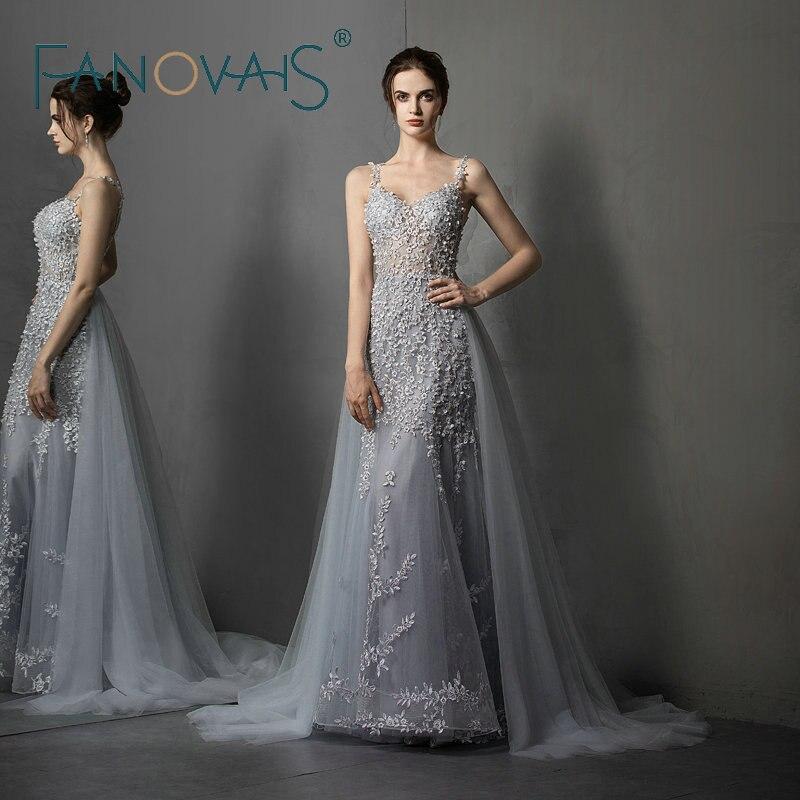 Gray   Evening     Dresses   With Detachable Train Prom   Dress   vestidos de fiesta de noche Robe de Soiree 2019 abendkleider