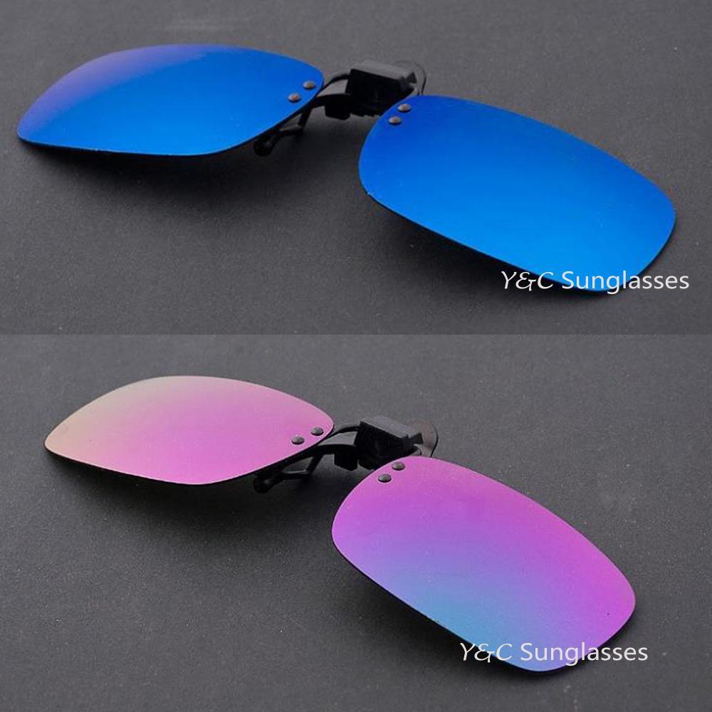 1abe0de045 1 unids 3 colores espejo lente día visión espejo gafas de sol para la  conducción nocturna gafas de la miopía clips en Retro de sol 2640