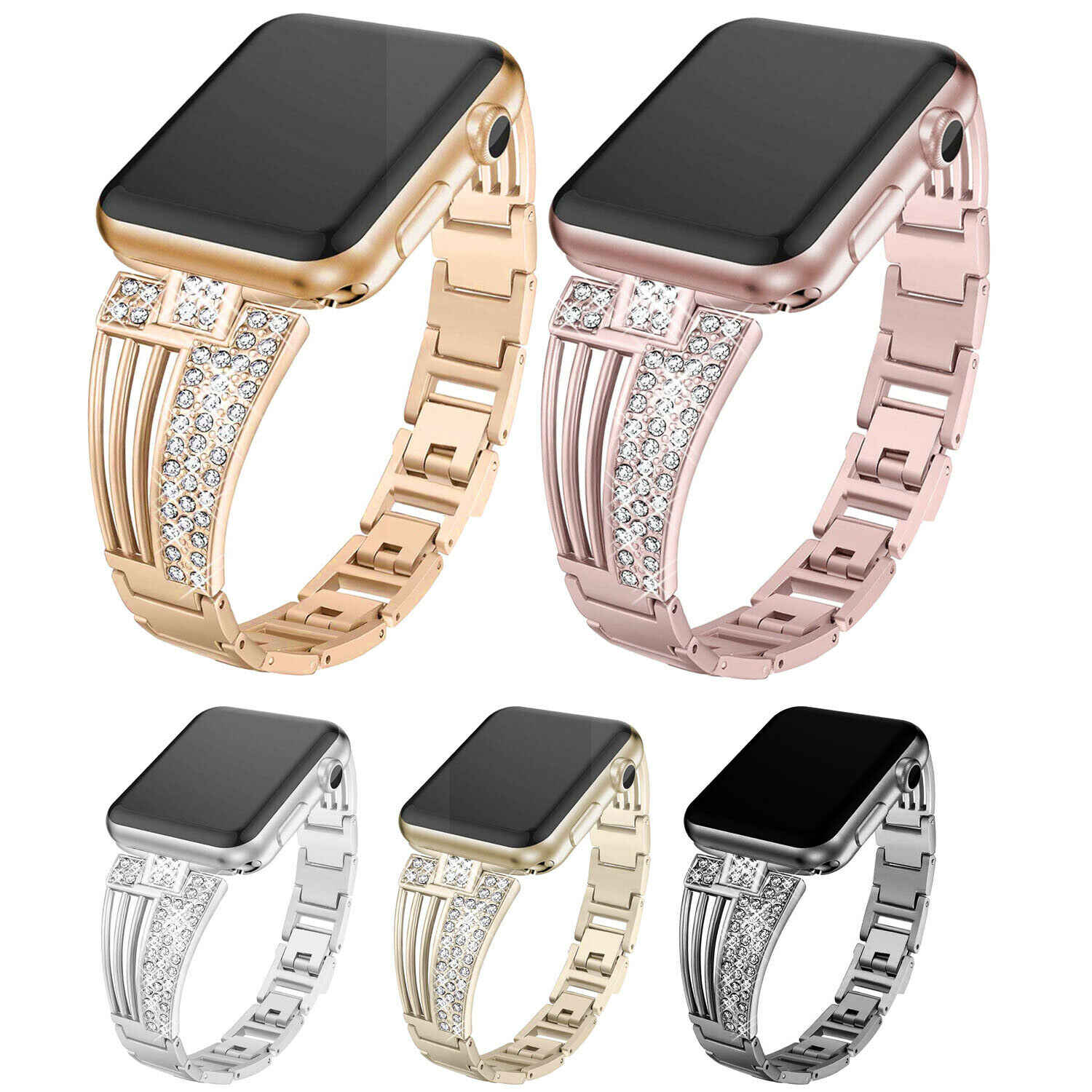 Wanita Diamond Watch Tali untuk Apple Watch 38 Mm 42 Mm 40 Mm 44 Mm Band untuk IWatch Seri 5 4 3 2 1 Stainless Steel Link Gelang