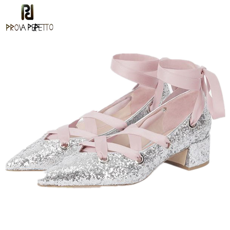 Prova Perfetto Fashion Bling Bling Pointed Toe Pumps Shoes Laces Silk Chunky Heel Women Sandals Front Lace Up Ladies Ballet Shoe prova perfetto bling bling diamond women casual shoes lace up rhinestone sequine sneakers shoes thick bottom fashion girl shoes