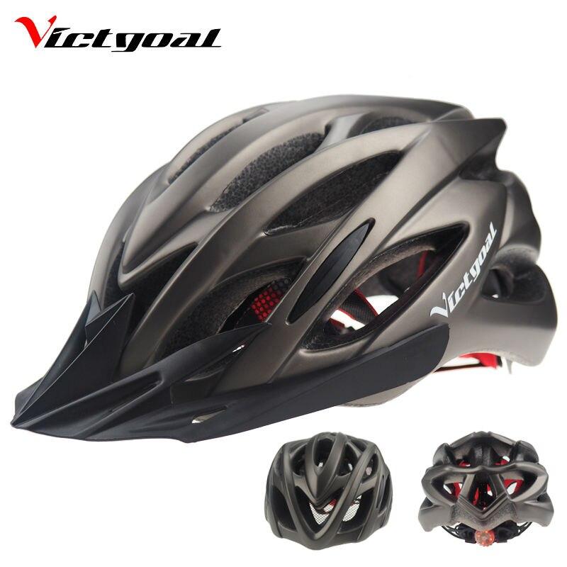Цена за VICTGOAL Велосипедный Шлем Солнцезащитный Козырек Мужчины Женщины Горная Дорога Велосипед Шлем MTB Сверхлегкий Задняя Светодиодная Ночь Велоспорт Шлемы M1002