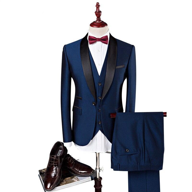 Известный бренд мужские темно-Костюмы Свадебные Жених плюс комплект из 3 предметов (куртка + жилет + штаны) slim Fit Повседневное блейзер Мужской... ...