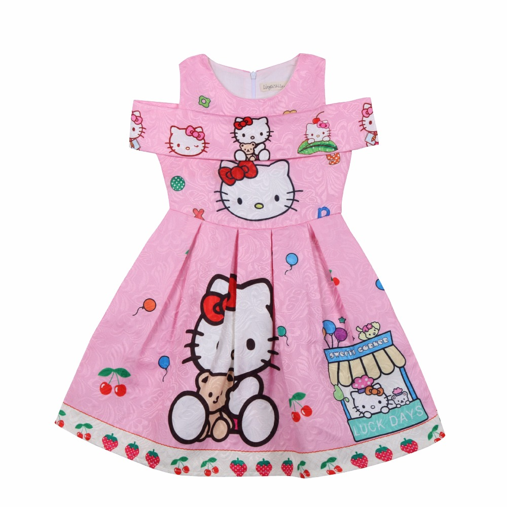 A-line Flower Girl Dresses Summer Children Dress 2018 Brand Costume Baby Flower Kids Clothes Party Red Dress hello kitty 3-8 age gril flower dress multi storey white clothes stage girl performance children show clothes for dance with a pair of glove