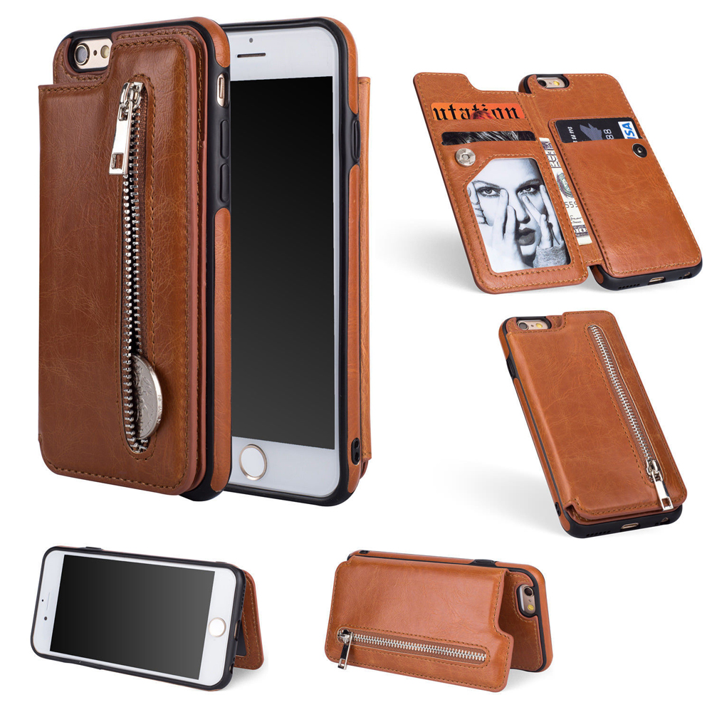 Flip Phone Case For iPhone 7 8 Plus X 6 6s Plus PU Leather Wallet Phone Stand Holder For Samsung Galaxy S8 S9 Plus Note 8 DG82