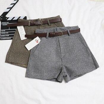 34ac4f4344 Nueva Casual cómoda y elegante salvaje pantalones cortos con cinturón de  lana de la mujer pantalones de otoño invierno de pierna ancha línea  pantalones ...