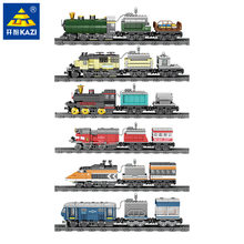 KAZI Technic Battery Powered Electric Classic loge City Train Rail Building Blocks Bricks Gift Toys For Children Boys Girls(China)