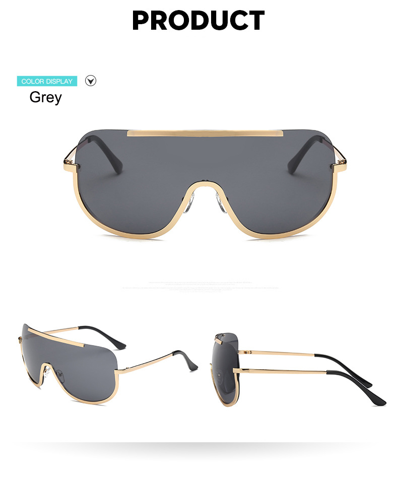US $5 78 42% OFF|2018 Oversized Shield Sunglasses Big Frame Alloy One Piece  Sexy Cool Sun Glasses Women Gold Clear Eyewear Gradient Shades-in Women's