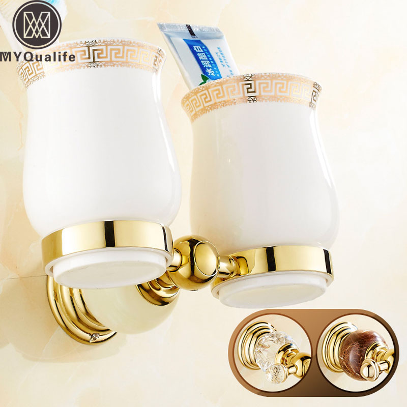 цена на Free Shipping Crystal and Jade Wall Mounted Toothbrush Holder Double Ceramic Cup Brass Holder