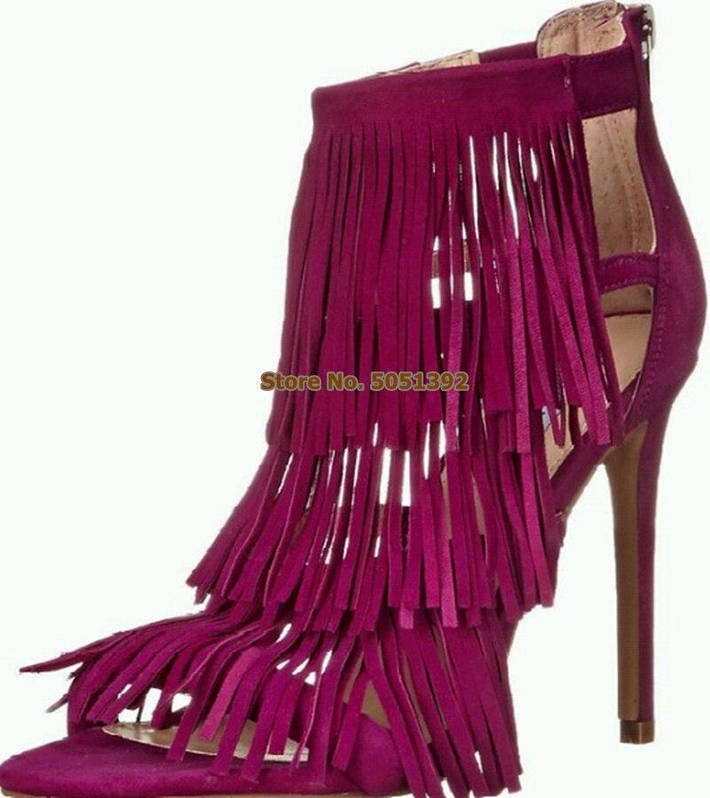 Frauen High Heel Sommer Sandalen Fringe Wildleder Stiefeletten Peep Toe Quaste Nubuk Stiletto Mode Booties Große Größe