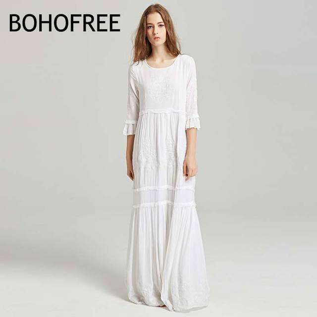 54c854d7017bc BOHOFREE Elegant Women Holiday Beach Dress O Neck Floral Embroidery Maxi  Long Dress Half Sleeve Weding party Dress Boho Dress-in Dresses from  Women's ...