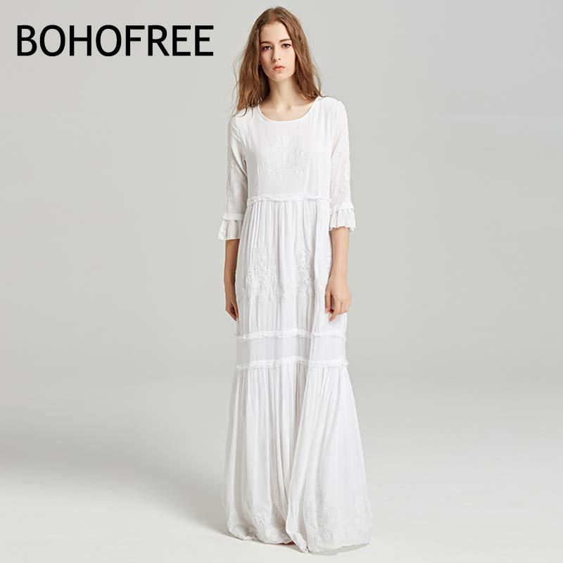 BOHOFREE Elegant Women Holiday Beach Dress O Neck Floral Embroidery Maxi Long Dress Half Sleeve Weding party Dress Boho Dress