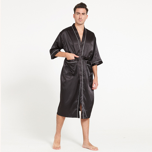 Hot Sale Summer Men s Silk Robe Gown Solid Color Rayon Bathrobe Sleepwear  Kimono With Belt One 1e82b62f0